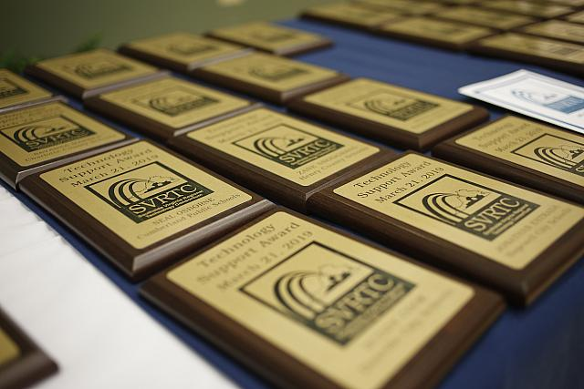 Picture of several award plaques.
